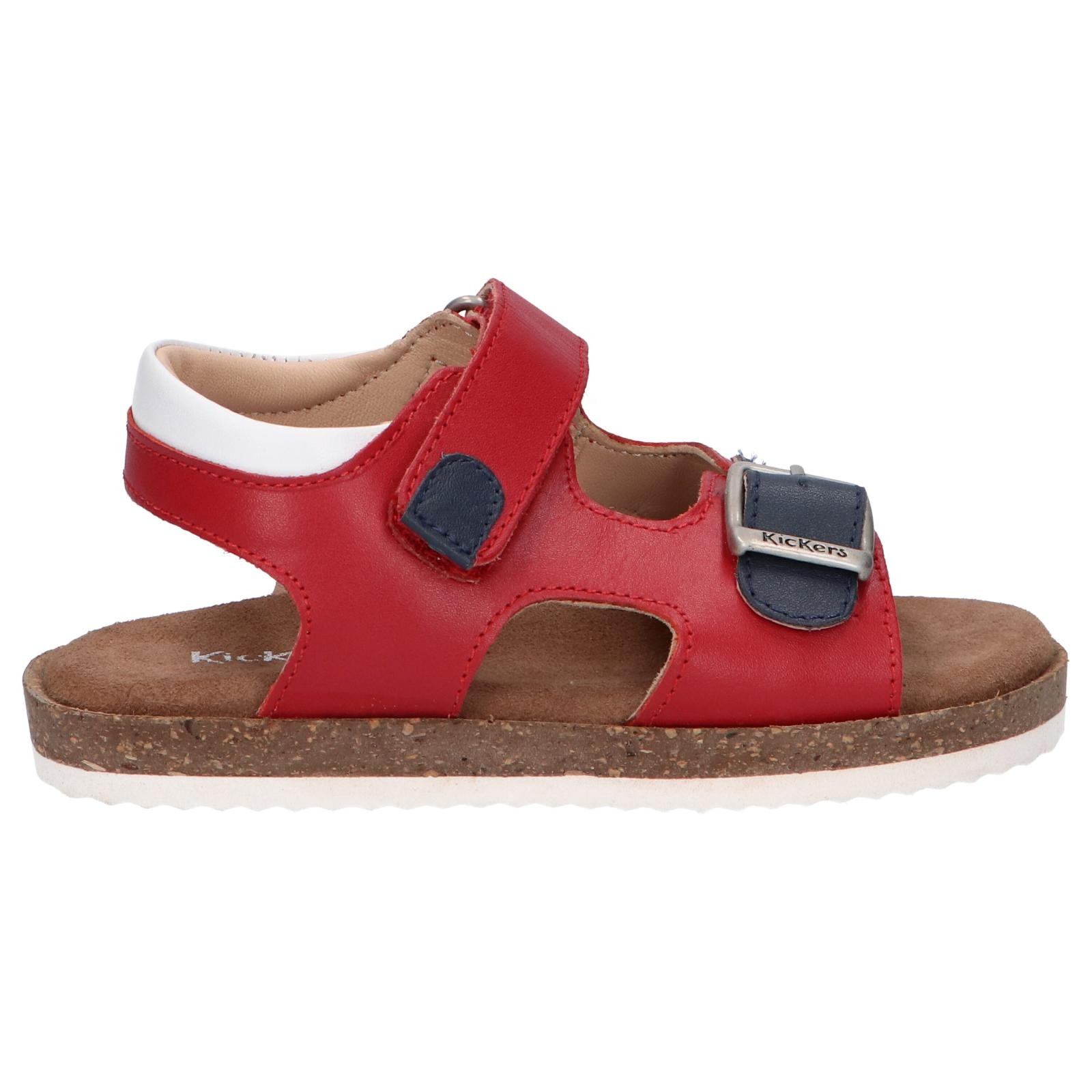 Women and Girl and Boy Sandals KICKERS 694917-30 FUNKYO 41 ROUGE MARINE BLANC